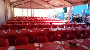 Allestimento capannone per festa paesana - service audio, luci e video per eventi - Padova